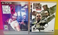Kane & Lynch 1 + 2 Dead Men + Dog Days Game Lot - PS3 Sony Playstation 3 Tested