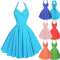 Retro Vintage Polka Dot Swing 50s 60 Housewife Pin Up Evening Party Halter Dress