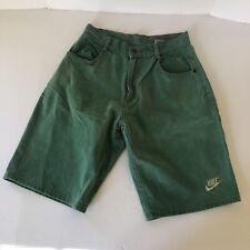 90s Vtg Nike Team Sports Green Denim Jean Fresh Prince Basketball Shorts Mens XL