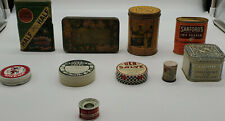 Lot of (9) Vintage Tins or containers, household items from the 30s to the 60s