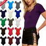 Womens CAP SLEEVE BODY SUIT Ladies Short Sleeve Stretch Fitted Leotard Top 8-14