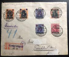 1920 Langfuhr Danzig Registered Cover To Frankfurt Germany Overprinted Stamp