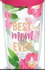 Tervis BEST MOM EVER Floral Tumbler with Pink Lid 16oz, Clear/Transparent
