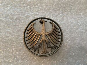 Vintage Silver German Eagle Pendant, Hand Cut Coin Jewelry, 5 Mark Coin