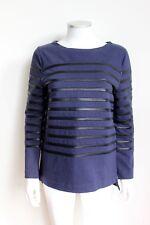 CELINE Navy-Blue & Black Leather Striped Long-Sleeve Shirt Top M