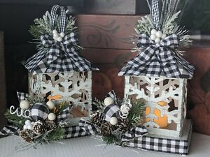 Christmas Decor Buffalo Plaid Black/White Distressed Light Up Lanterns Set of 2