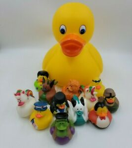"""Schylling Yellow Rubber Ducky 10"""" + Assorted Fun Crazy Ducky Bath Time Toy Lot"""