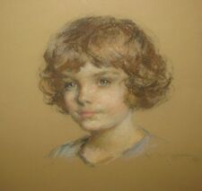 Antique 1921 ERNEST L IPSEN Portrait of a Young Girl ART DECO Pastel PAINTING