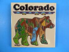 "Ceramic Art Tile 6""x6"" Colorado Bear stream mountain trivet wall keepsake G70"
