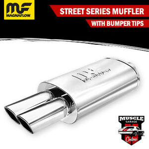 """14833 - 2.25"""" In/ Twin 2.75""""x2.5"""" Out 5""""x8""""x14"""" Long - Stainless Magnaflow Muffl"""