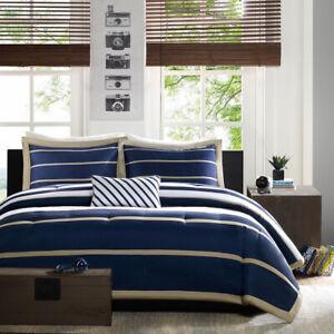 New Design Chic Navy Blue Stripe Comforter Cal King Queen Twin XL Bedding Set