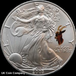 2003 American Eagle Liberty 1oz Silver $1 One Dollar Coin Goat Privy