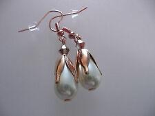 Vintage Art Deco Style Crystal &Teardrop Glass Pearl Not So Long Earrings Prom