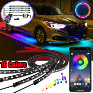 4PCS 8 Color LED Strip Under Car Tube underglow Underbody System Neon Lights Kit