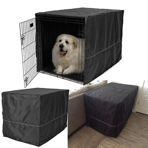 """Dog Crate Cover 48"""" Black Polyester Stylish Geometric Pattern for XLarge Kennels"""