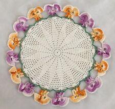 """Multi 8"""" Crochet Pansy Flower Doilie"""