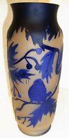 wunderschöne Vase,Eulen im Baum,Kameentechnik,unsigniert,ca:H 21cm,Dm 8cm, 434 g