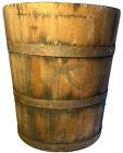 Antique 19th Century Bucket Grain Measuring Handmade Wood   Cast Iron Bands