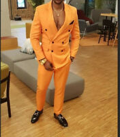Orange Men's Suit Tuxedos Double Breasted 2 Pieces Causal Party Prom Tailored