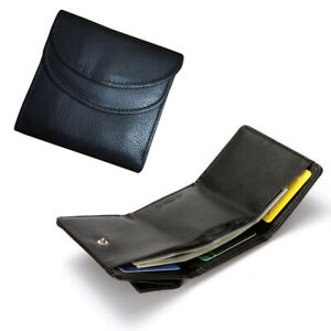 Leather Button Coin Pouch Folding Wallet + Money Slot Compartment