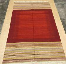 5'X8'ft Handwoven Flatweave Woollen Ikat Area Rug Dhurrie Yoga Floor Mat Dhurie