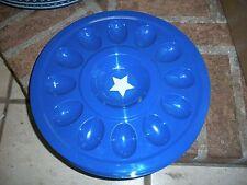 New Blue Star Patriotic Holiday Melmac Deviled Egg Plate Dish Tray Server