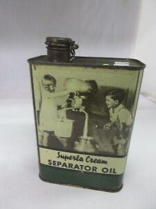 VINTAGE ADVERTISING SUPERLA CREAM SEPARATOR OIL QUART TIN CAN    B-152