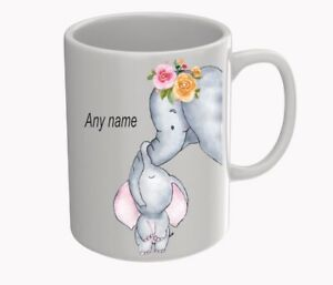 lovely elephant mug can be personalised with any name