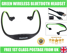 Green Sport Estéreo Inalámbrico Bluetooth Auriculares Auriculares para iPhone HTC Samsung