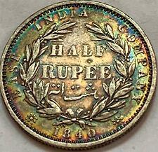 INDIA 1840 1/2 Rupee S .W.W RAINBOW TONED Colorful!!  🌈