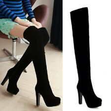 New Fashion Women Block High Heel Zip Up Over The Knee Thigh Stretch Boots Punk