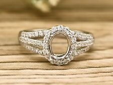 14K white gold 8x6mm oval 0.53ct diamonds halo engagement ring semi mount