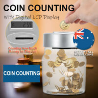 Aussie Coin Money Counting Jar Digital LCD Display OZ Coins Piggy Bank Box Gift