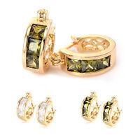 Vintage Womens Crytsal Ear Hoop Earrings Statement Yellow Gold Filled Earings
