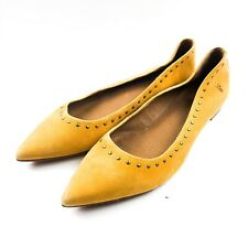 Frye Sienna Micro Stud Ballet Flats, Women's Size 8 M, Yellow Suede