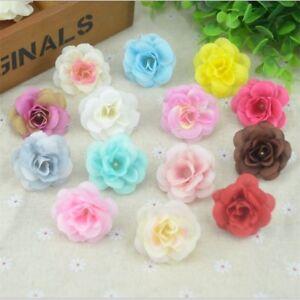 Handmade Mini Artificial Flower Rose Head Decorative Home Party Craft Diy 50 Pcs