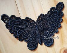 BLACK Embroidered Venise Lace Butterfly Motif Patch Trim Sew on Applique