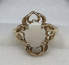 VINTAGE 10K YELLOW GOLD WHITE OPAL RING SIZE 6.25