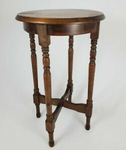 Vintage Accent Table Walnut Wood 2 Tier Round Federal Chippendale