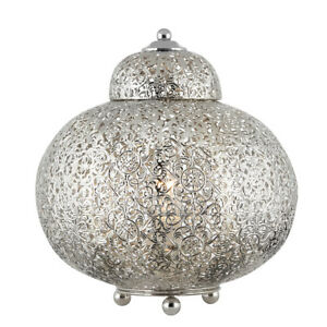 Searchlight 1 Light Moroccan Home Office Bedside Study Nickel Pattern Table Lamp