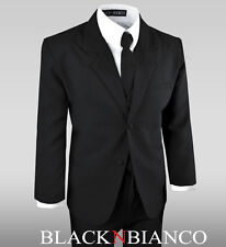 Boys Black Suit Tuxedo with Tie Complete Dresswear Set For Kids of All Ages