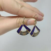 Vintage Enamel Cloisonne Blue Floral Fan Dangle Gold Tone Earrings