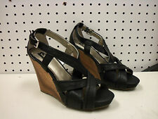 R2 Report New Womens Merin 5.5 Black Heels Wedges Strappy Open Toe Shoes