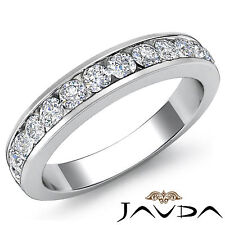 Womens Half Wedding Band Channel Set Diamond 2.75mm Ring 18k White Gold 0.50Ct