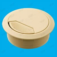 2x 60mm Beige PC Computer Desk Table Grommet Cable Outlet Tidy Wire Hole Cover