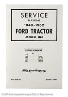 Service Manual for 8N Ford Tractor 1948-1952