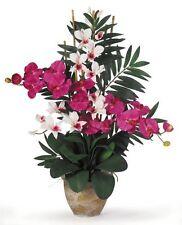 Double Phalaenopsis/Dendrobium Silk Flower Arrangement- Beauty/White 1071-BW NEW