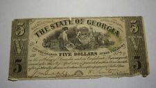 $5 1864 Milledgeville Georgia GA Obsolete Currency Bank Note Bill! State of GA