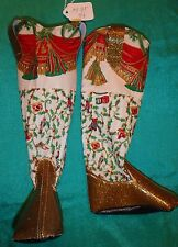 Gold Sparkle & Cream Christmas Cowboy Boots for My Size Barbie Doll MYBT54