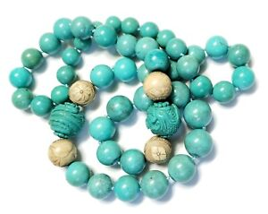 Old Turquoise Bead Necklace NaturaCarved Phoenix & Village Beads 722 Carats